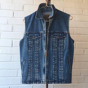 Ralph Lauren Jeans Co Blue Denim Zip Vest Sz M
